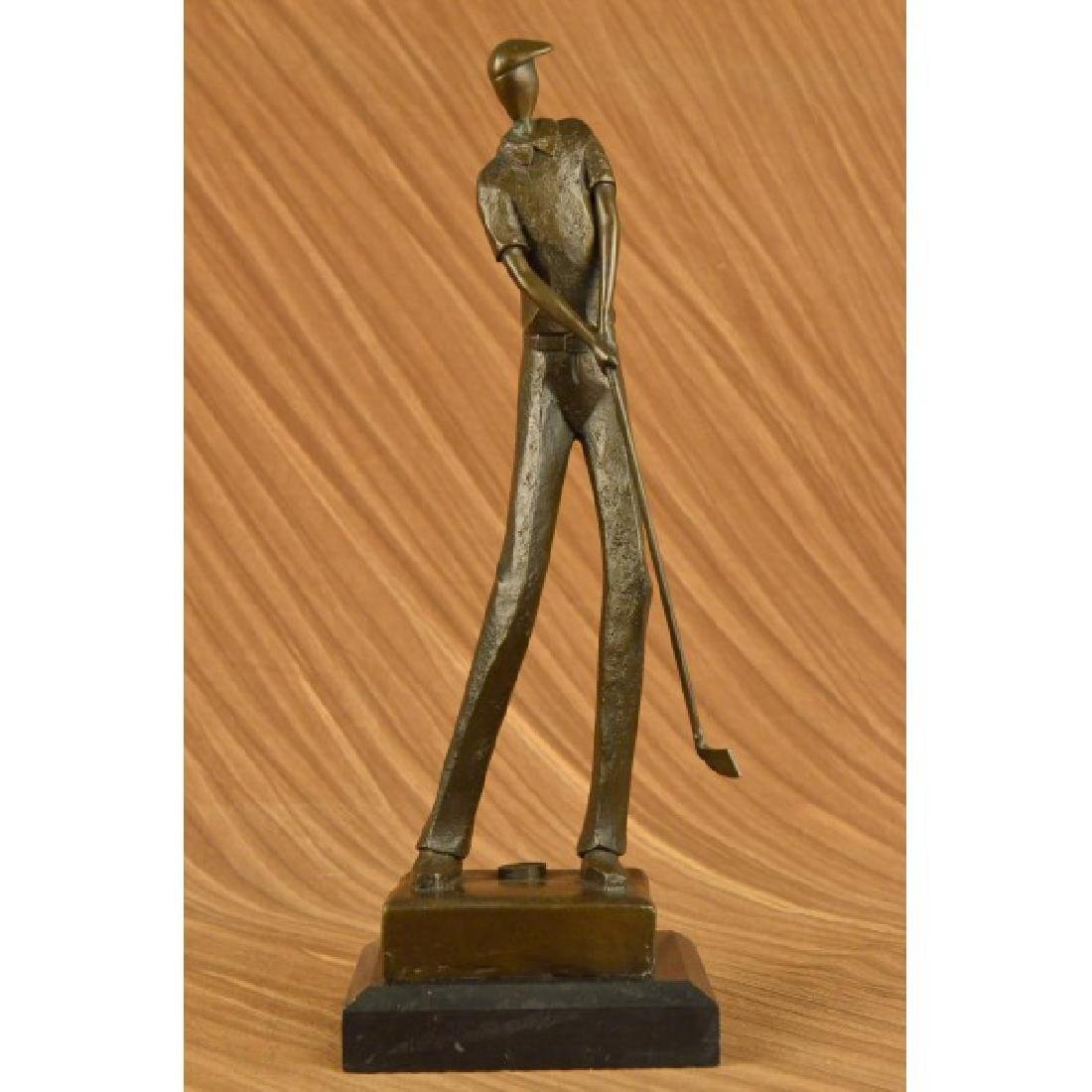 JEAN PATOU SOLID BRONZE GOLFER SCULPTURE. ABSTRACT ART