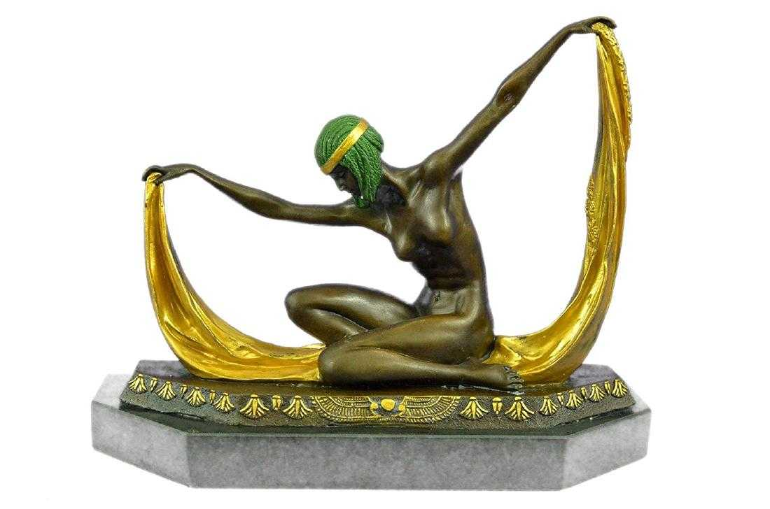 Graceful Nude Dancer Bronze Sculpture On Marble Base Body Skip Rope