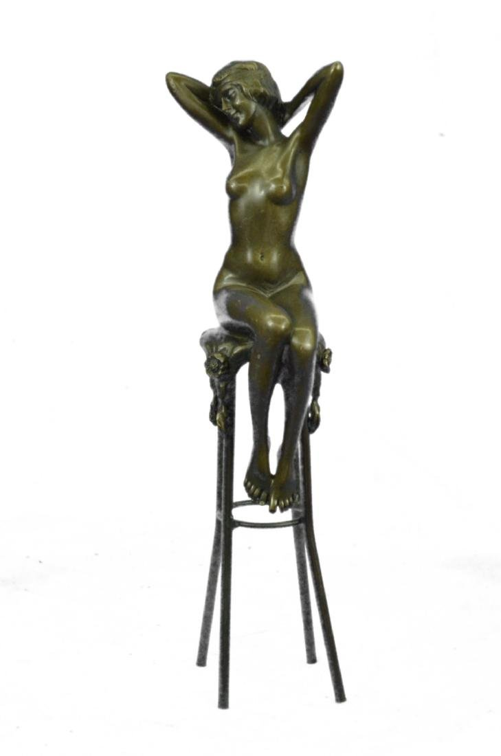 Nude Girl Model Sitting on Chair Bronze Sculpture
