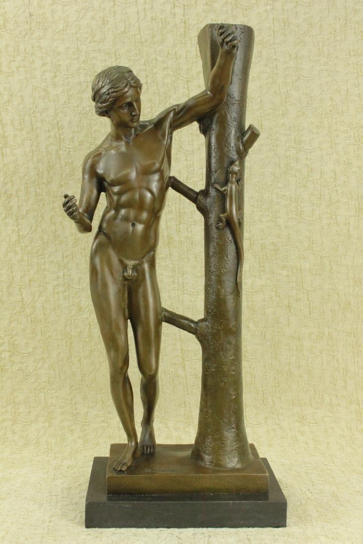 Nude Man Bronze Sculpture on Marble Base Figurine