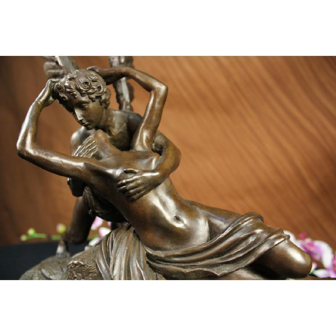 Zephyrus Psyche Lovers Bronze Statue with Marble Base