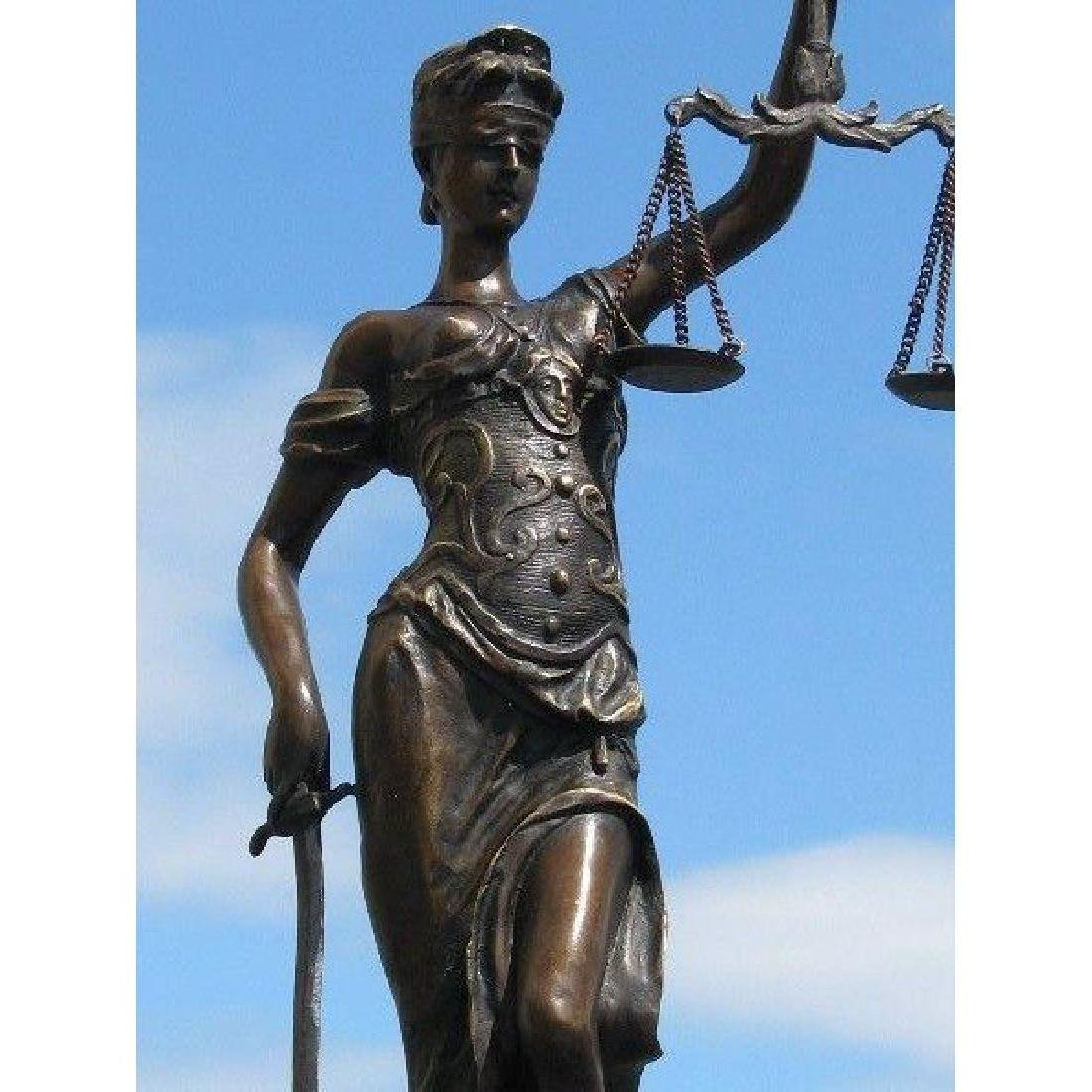 BRONZE BLIND JUSTICE LAW MARBLE STATUE LADY SCALE