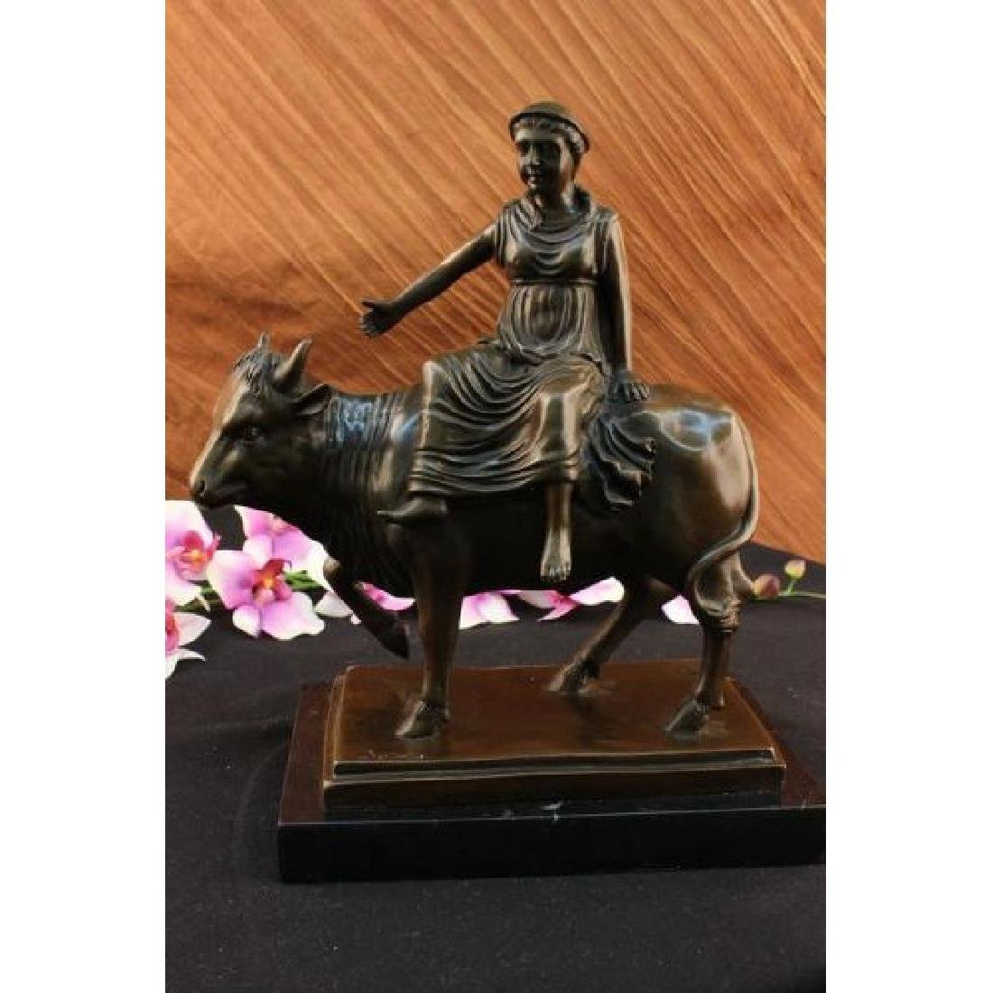 Abstract Botero Young Woman Rides a Bull Bronze Marble