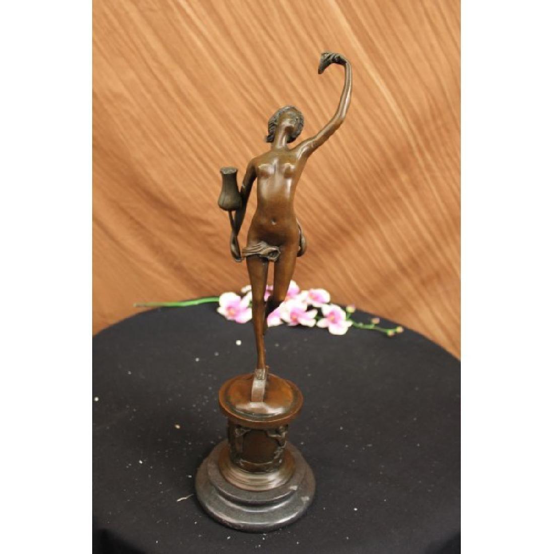 Erotic Nude Girl W/Tulip Flower Bronze Statue