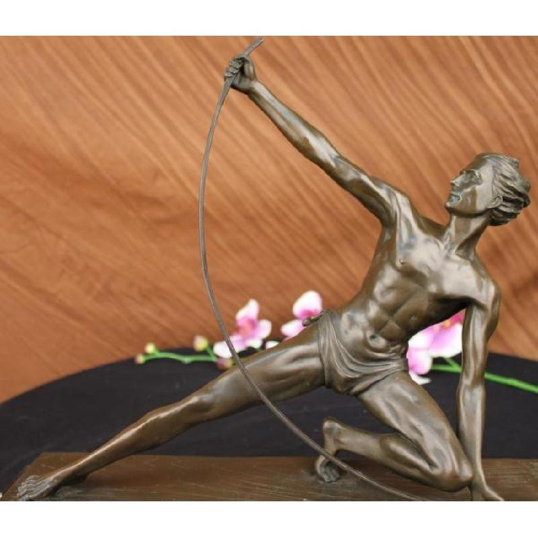 VINTAGE POWERFUL MAN WITH BOW BRONZE SCULPTURE STATUE
