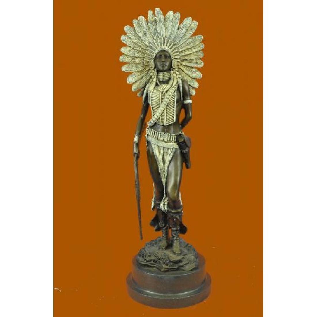 Bronze Marble Statue Indian Native American Warrior Art