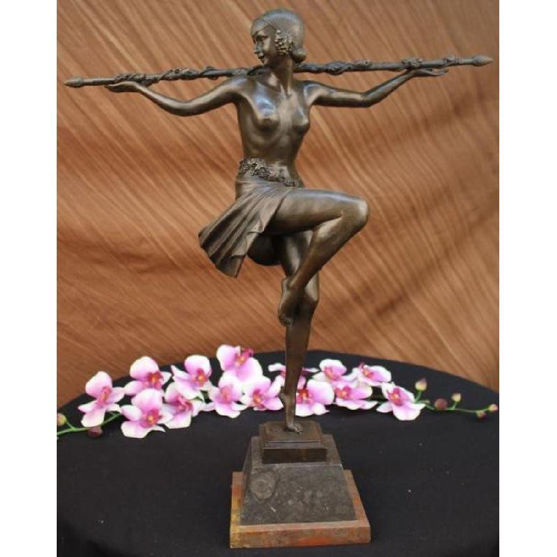 Dancer w/Thyrsus, Pierre Le Faguays bronze statue Art