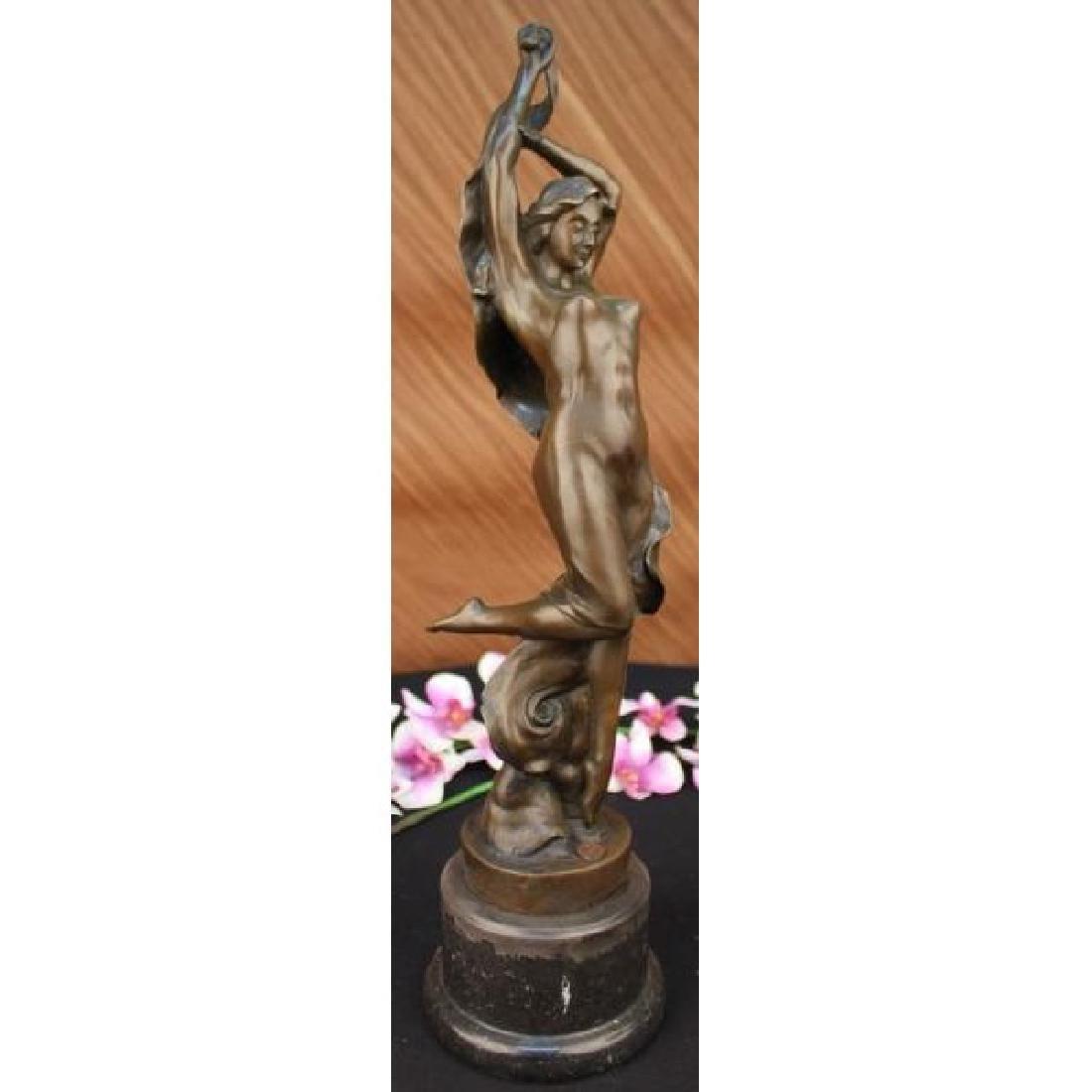 Large Nude Nymph Bronze Erotic Sculpture Figure Statue