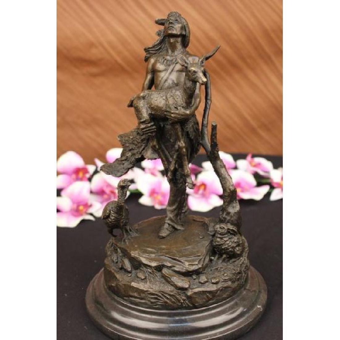 Moreau Native American Indian With Deer Bronze