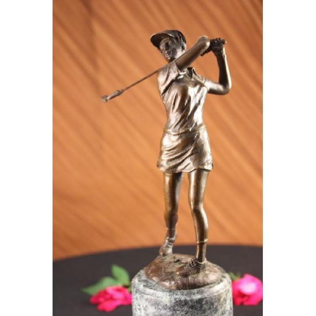 Bronze Statue Vintage Golfer Golf Female Golfing Trophy