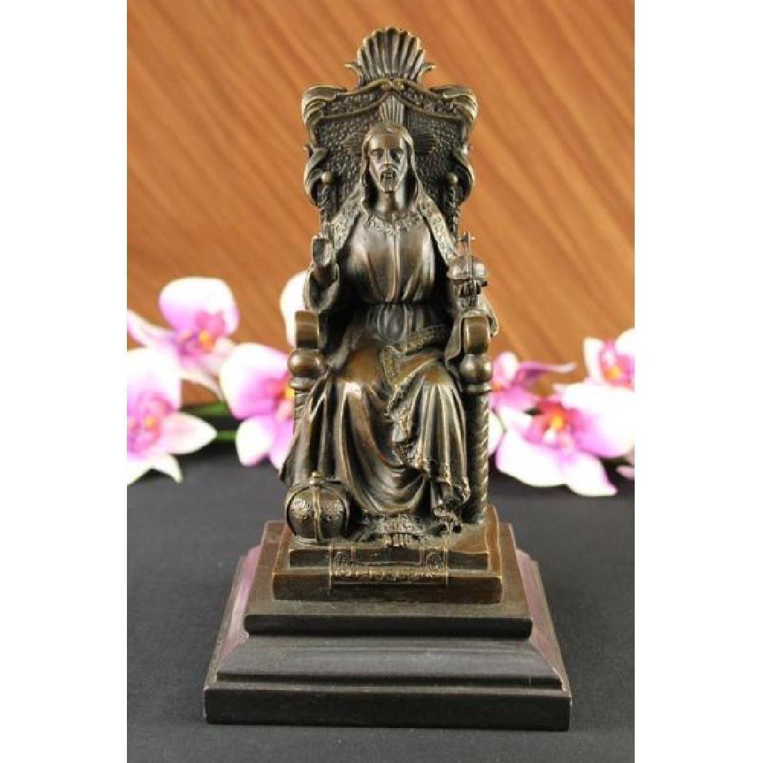 Art Deco Bronze Sculpture Statue Figure Bible Jesus NR