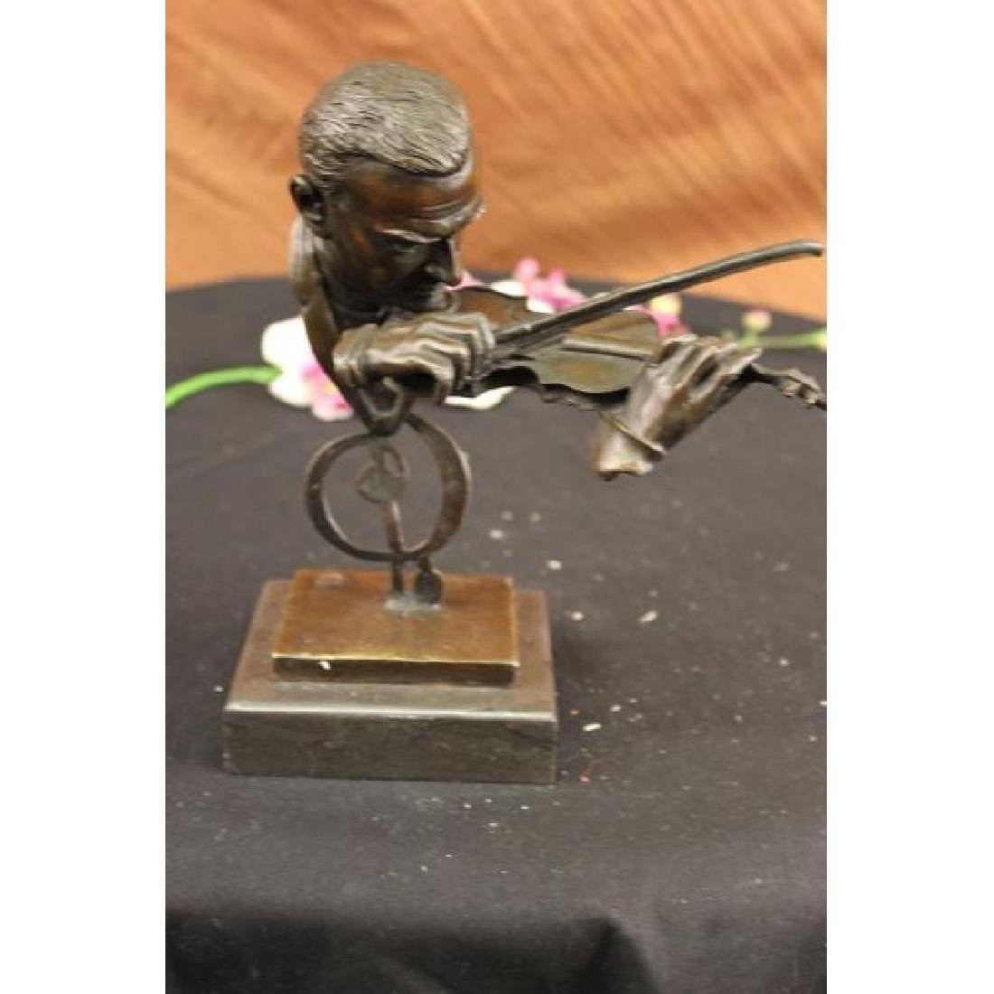 Milo Abstract Man Playing Violin Bronze Bust Sculpture