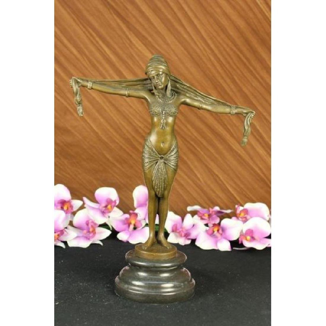 Demetrius Chiparus Romanin Bronze On Marble Dancer RARE