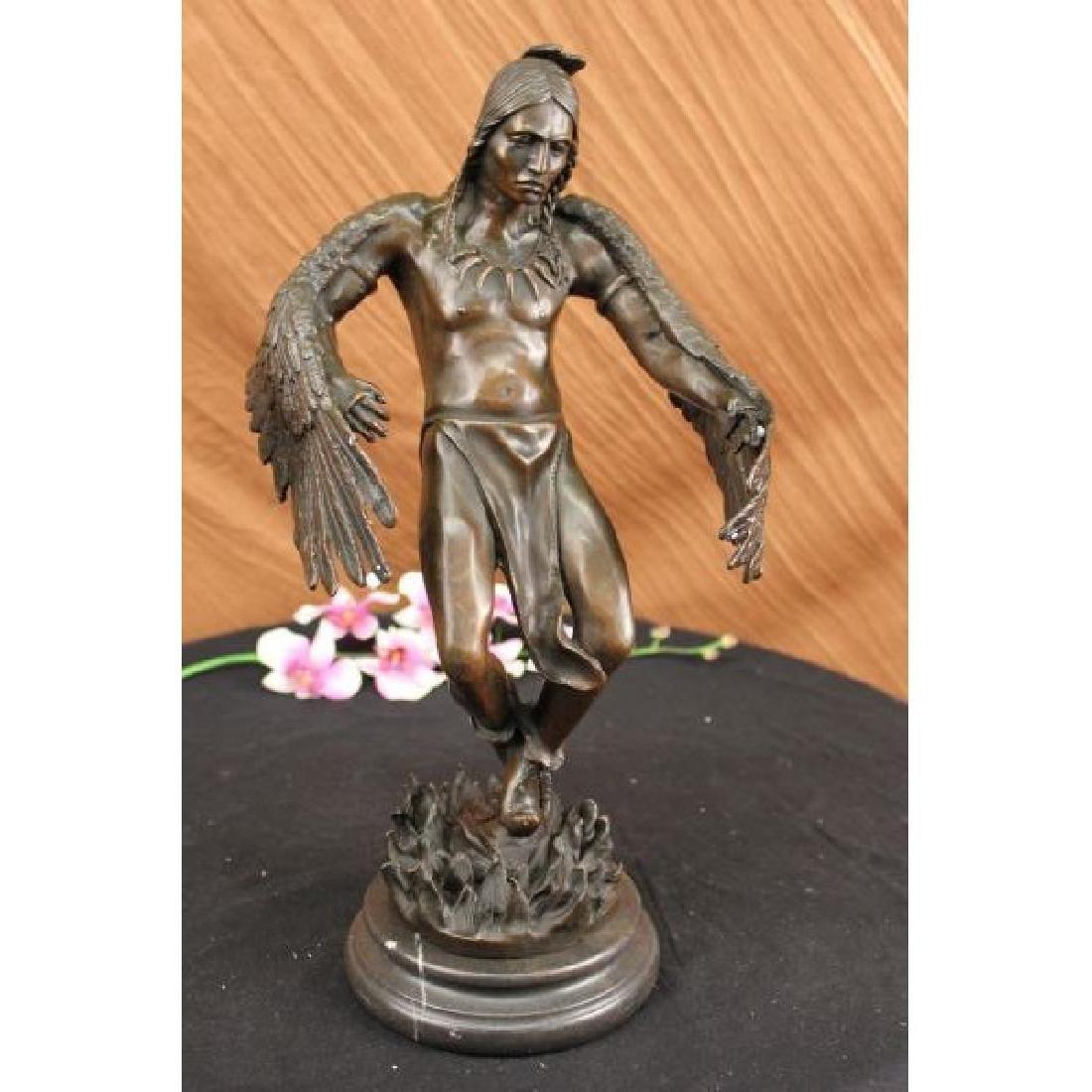 Milo American Indian Warrior Bronze Sculpture Art
