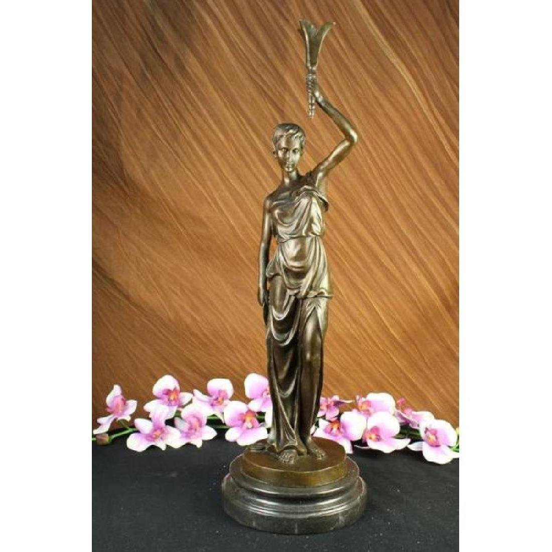 Elegant Bronze Marble Statue Victorian Lady Holding