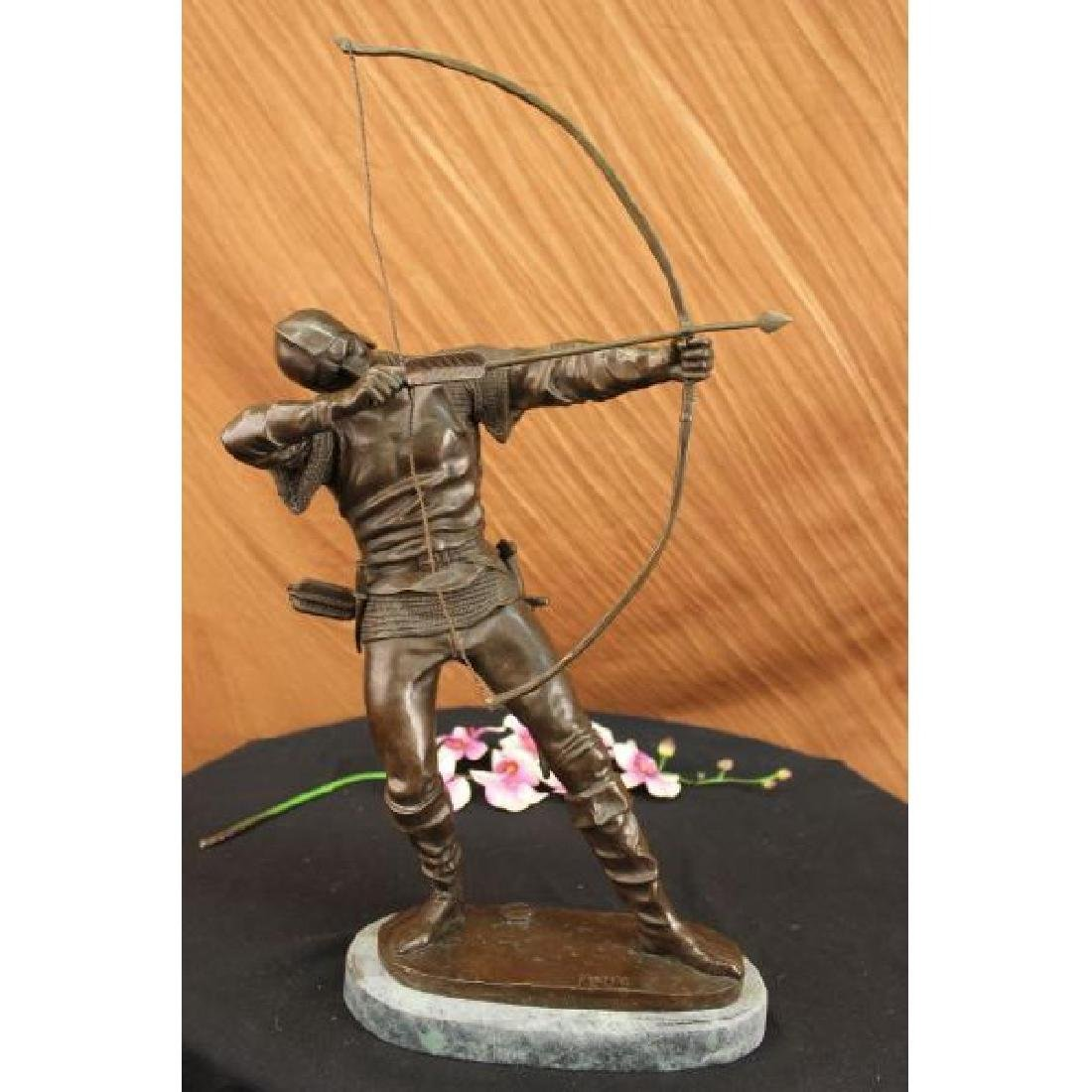 European Ancient Warrior with Bow and Arrow Bronze