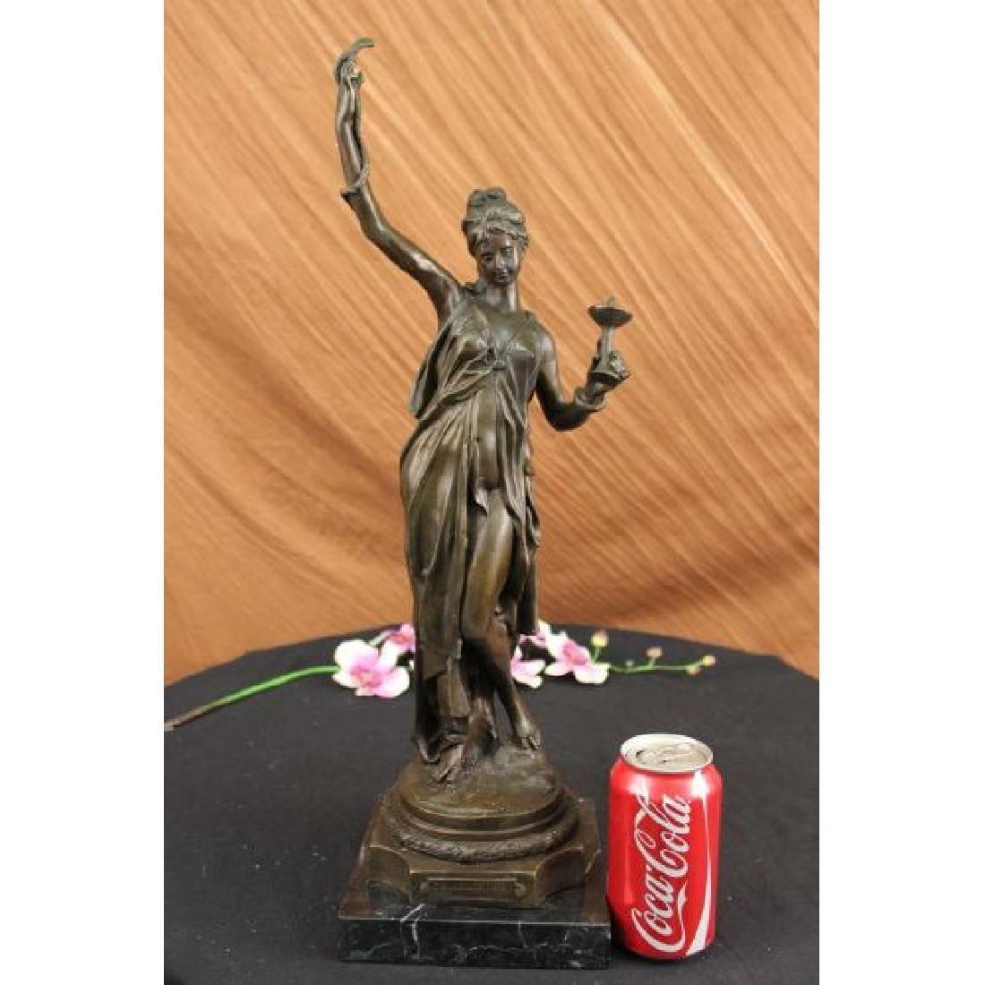 Snake Charmer Bronze Marble Sculpture Art Deco Figurine