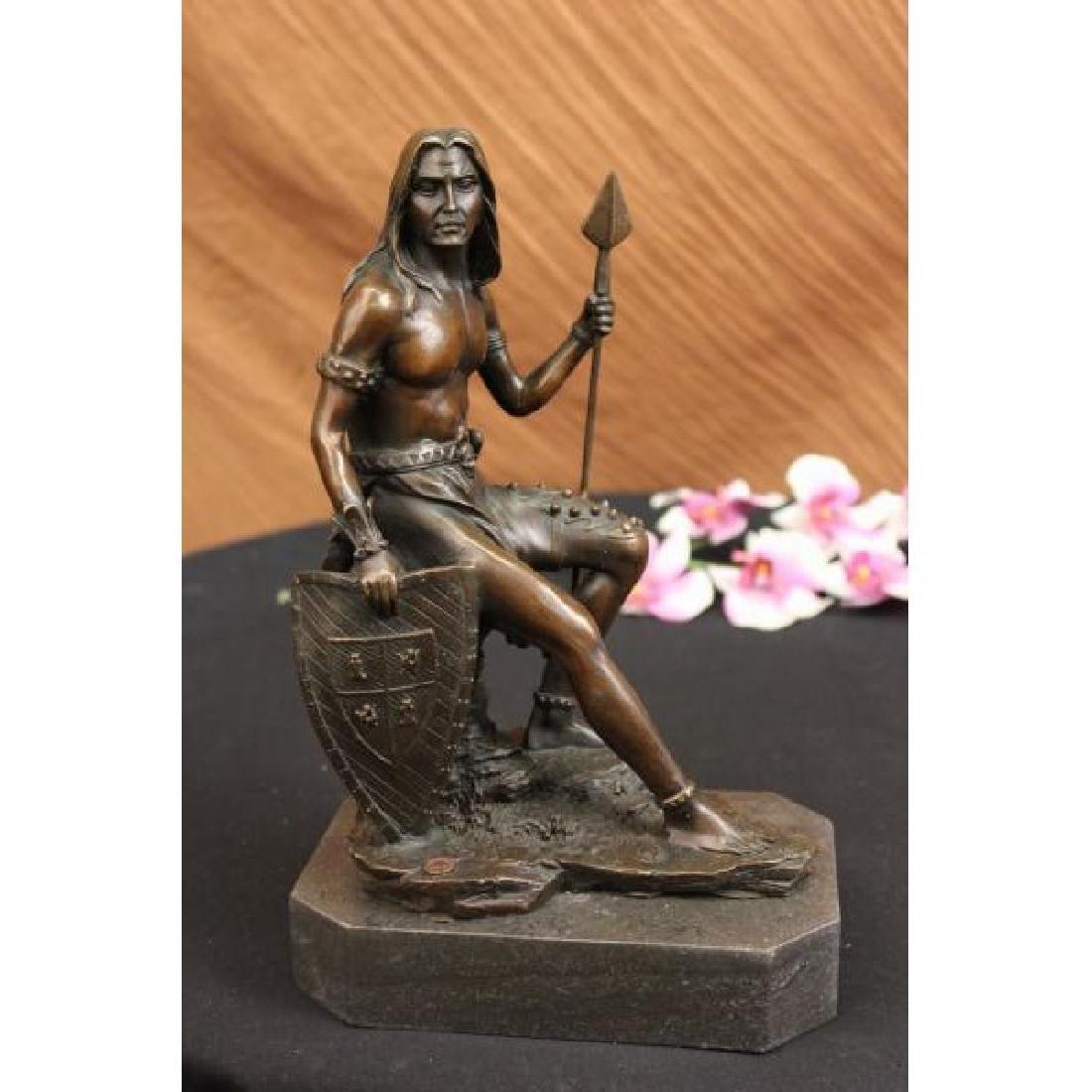 Nude Native American Warrior Bronze Statue