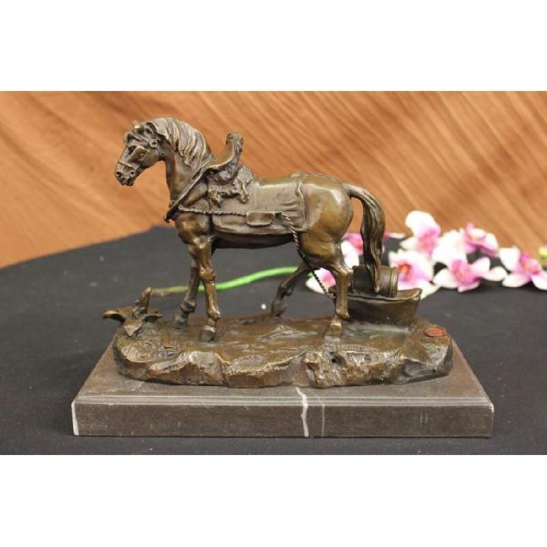 Show Horse Equestrian Ranch Farm Bronze Statue Marble