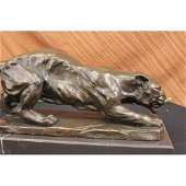 Large Barye Panther Cougar Art Deco Lost Wax Bronze