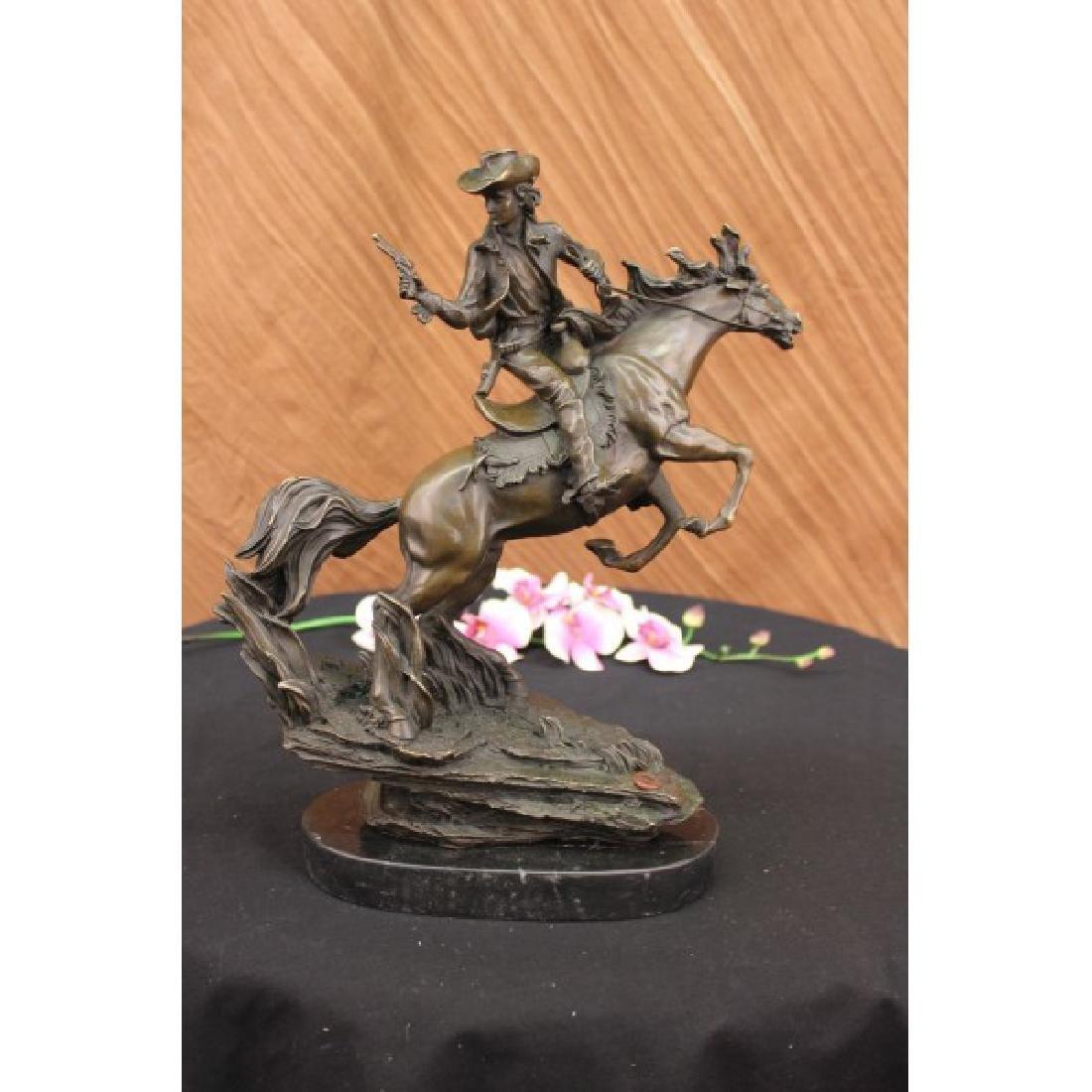 Bronze Sculpture Cowboy with Gun Riding Horse Old West