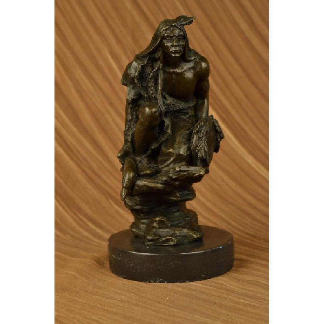 Western Art Native American Warrior Relaxing Bronze