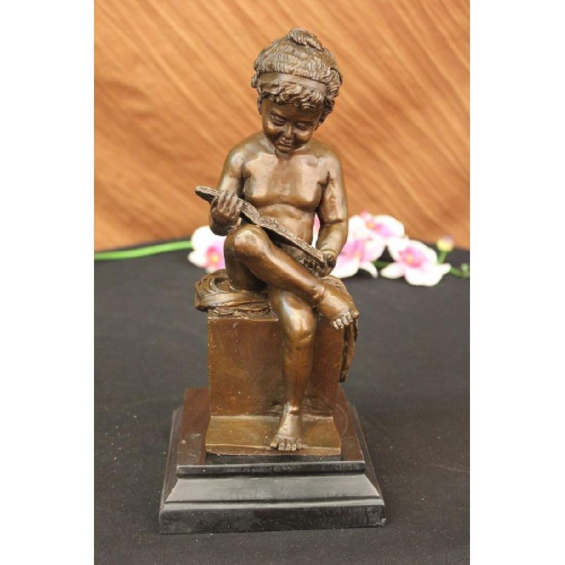 Bronze Sculpture Nude Young Girl Reading Book Art Deco