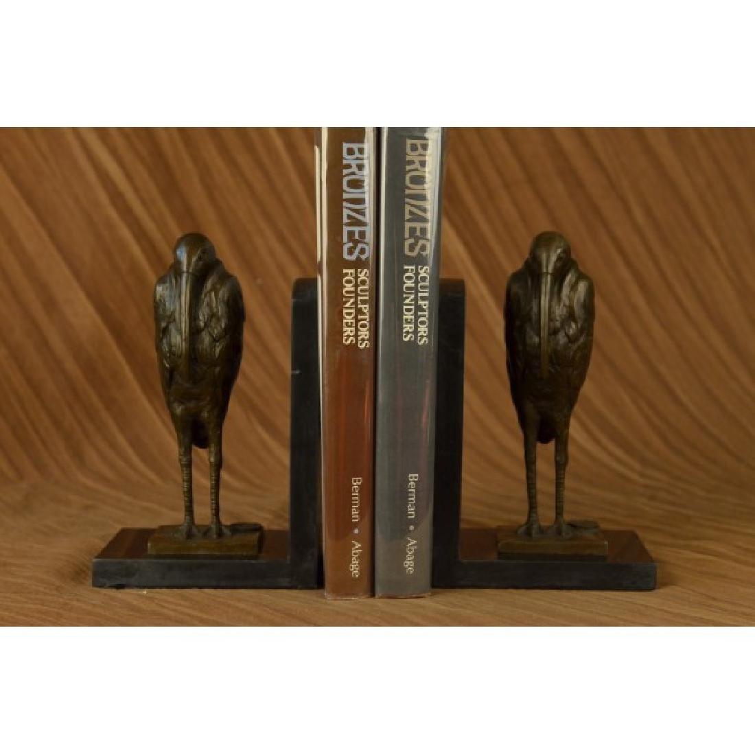 Pair Pelican Bookends Book Ends Bronze Bird Lover