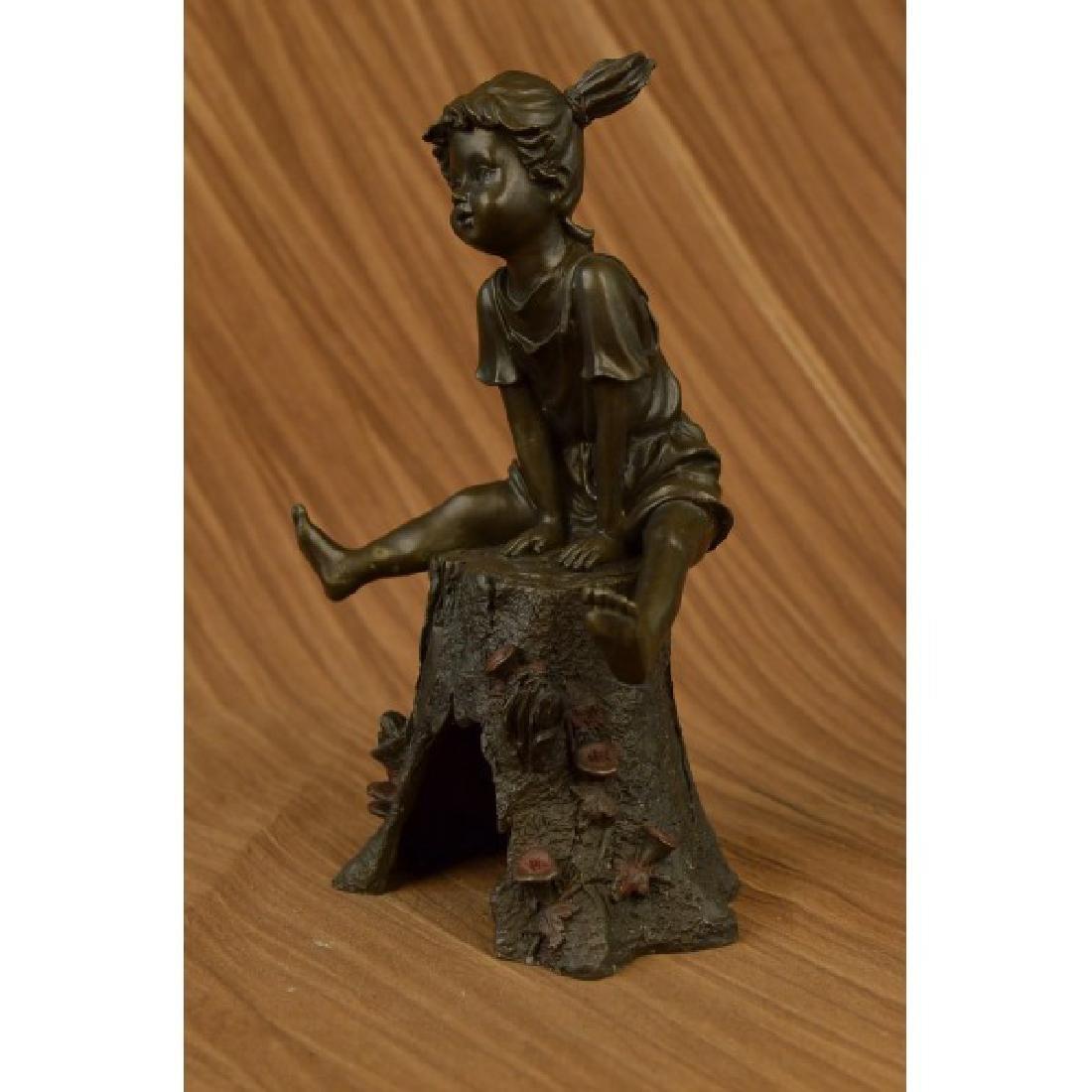 Art Taylor Girl on A Tree Stump Bronze Sculpture