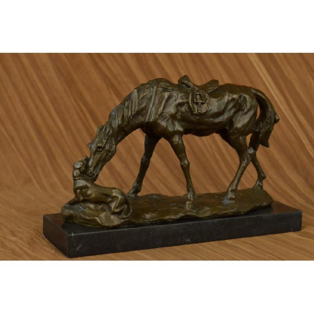 JULES MENE HORSE DOG BRONZE SCULPTURE ART DECO MARBLE