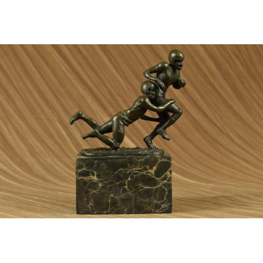 Two Muscular Football Players Rugby NFL Trophy Bronze