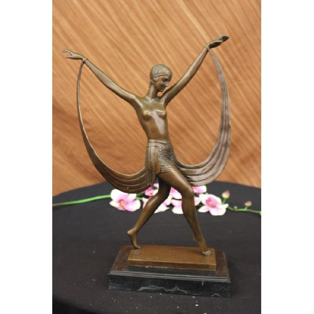 ART DECO NUDE GIRL DANCER FAYRAL BRONZE STATUE MARBLE