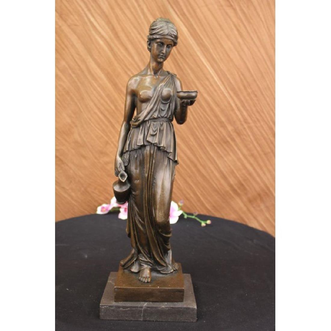Milo Young Nude Roman Girl Holding Cup of Wine Bronze