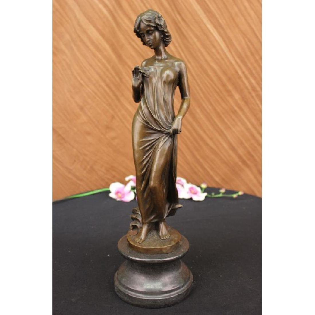 Bronze Sculpture Young lady Gazes into a Flower by