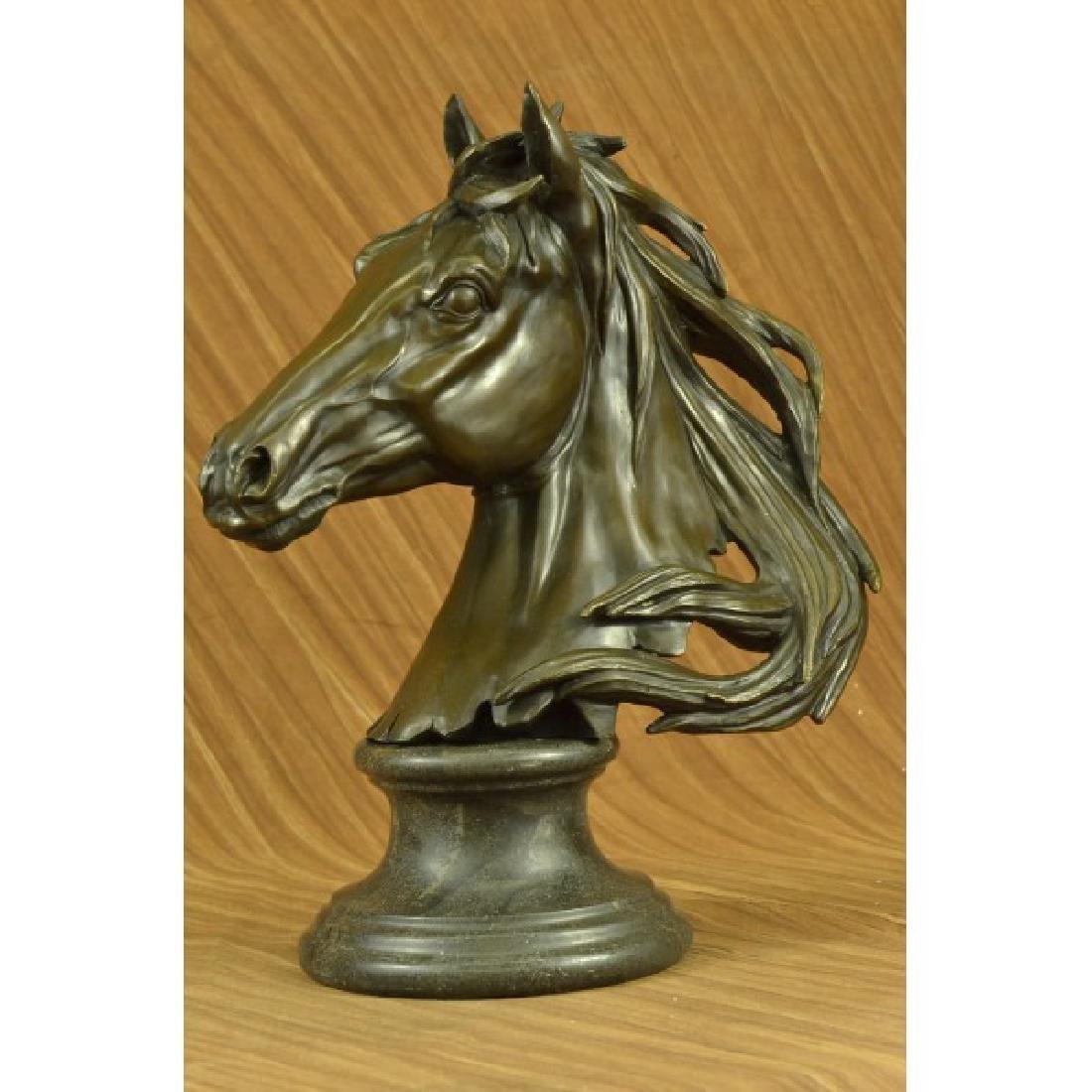 Milo Gorgeous Bust Horse Head Bronze Sculpture Art Deco