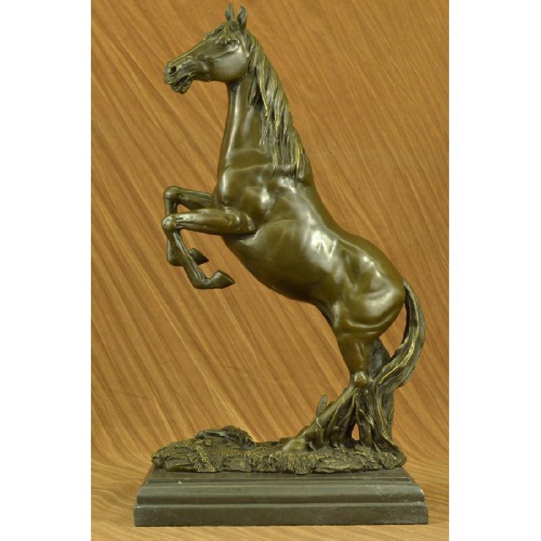Massive Rearing Arabian Horse Wild Bronze Sculpture