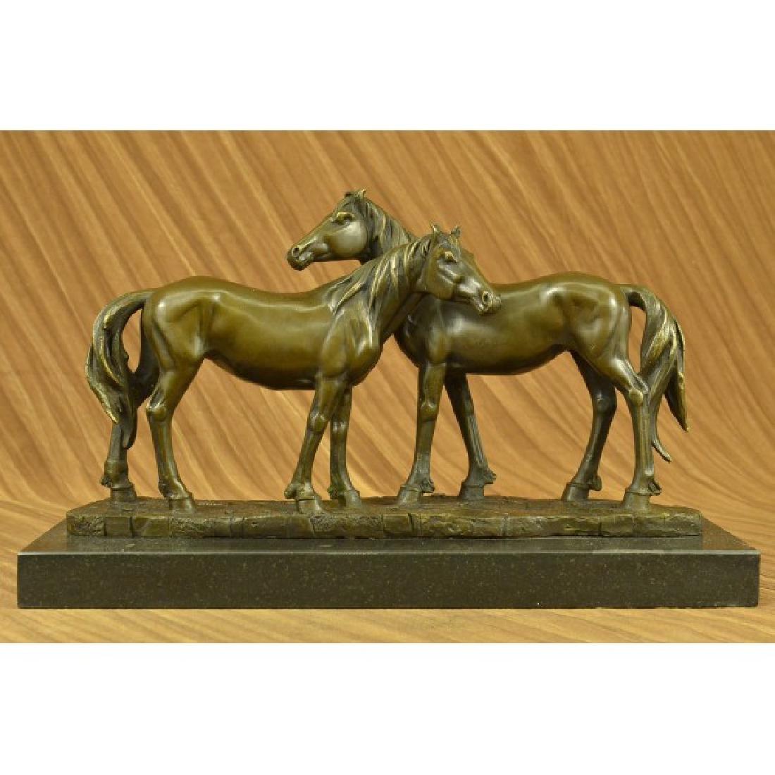 HORSES IN LOVE BRONZE SCULPTURE MARBLE BASE FIGURINE