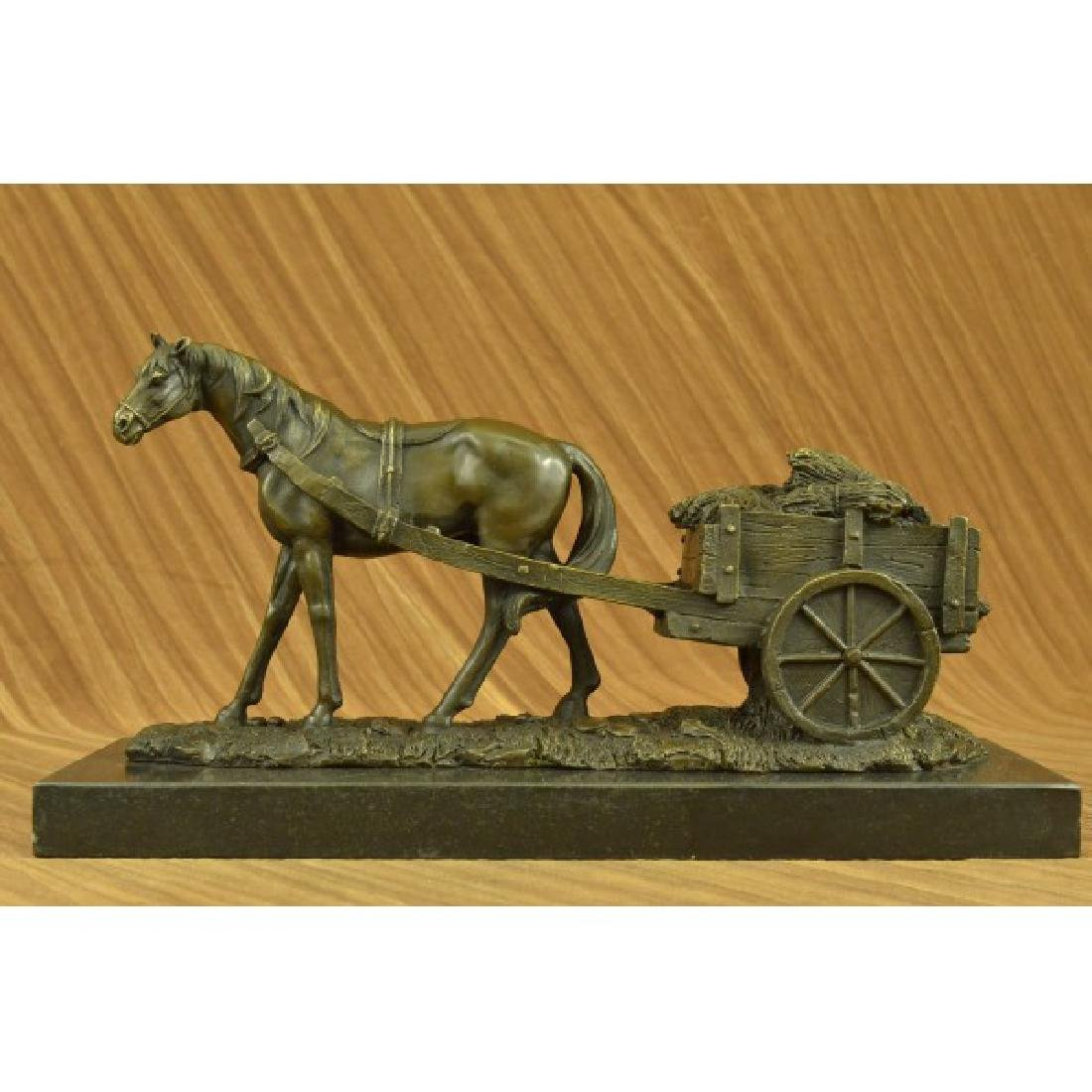 Working Horse with Carriage Bronze Sculpture Statue