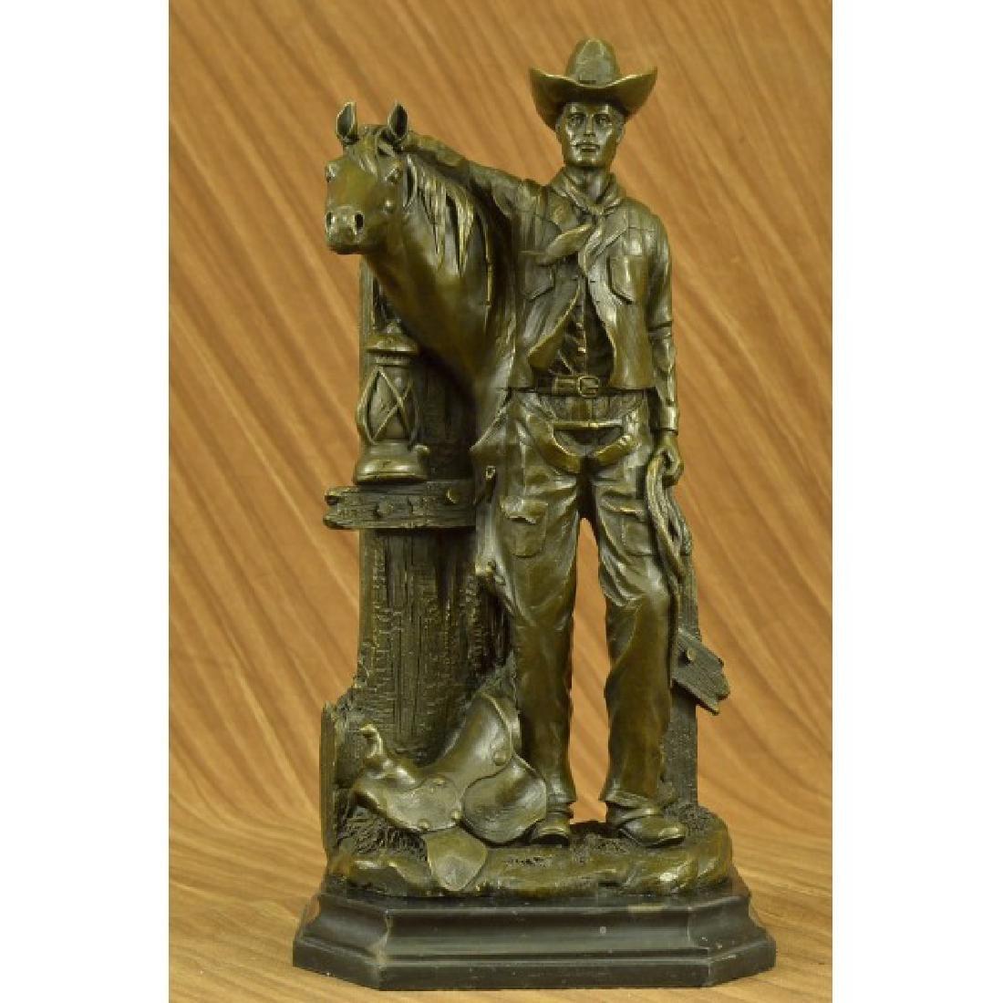 Cowboy Horse Western Bronze Sculpture Statue Figure