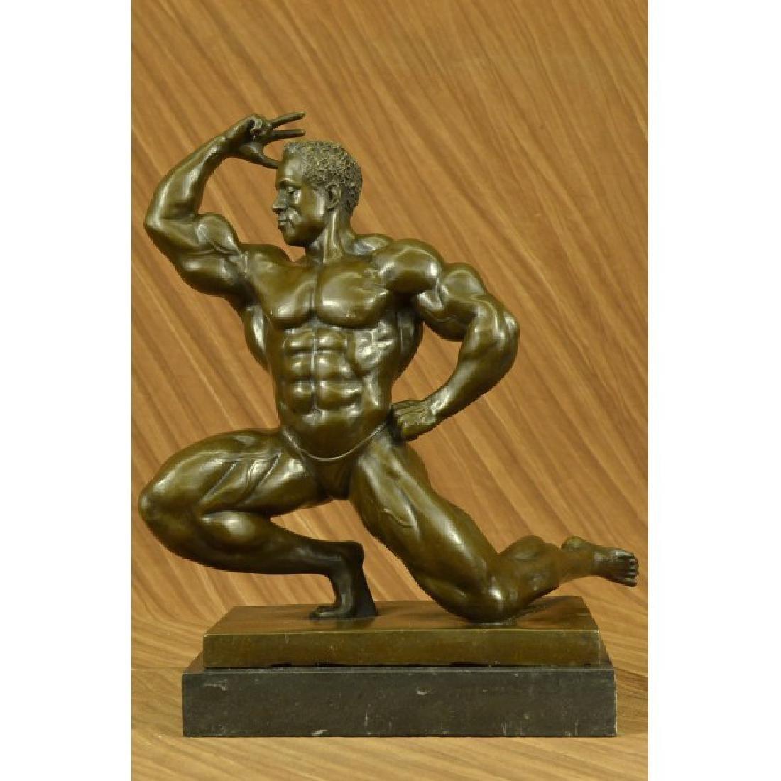 Western 100% Bronze Marble statue Art Muscle man