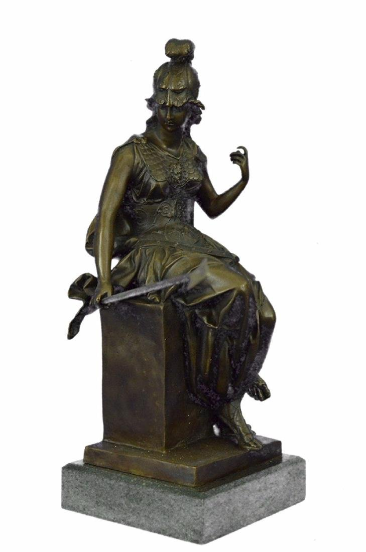 Female Greek Warrior Bronze Sculpture Marble Statue