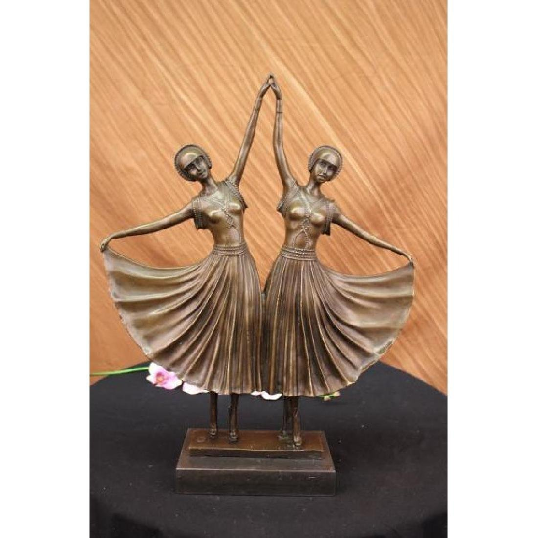 Large~Chiparus~Two Russian Dancer Bronze Sculpture Art