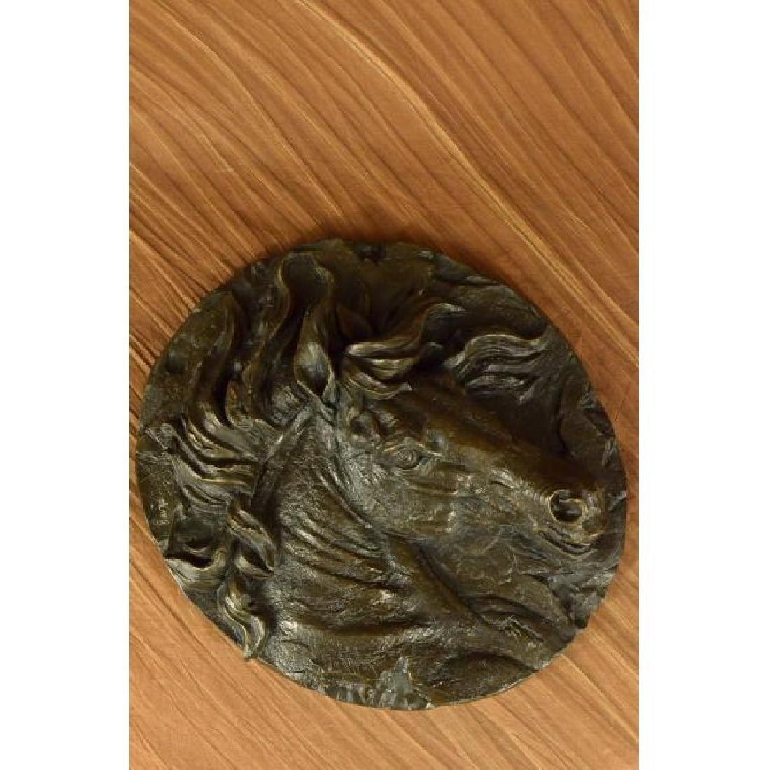 Barye Unique Bronze Bust Horse Head Sculpture Marble