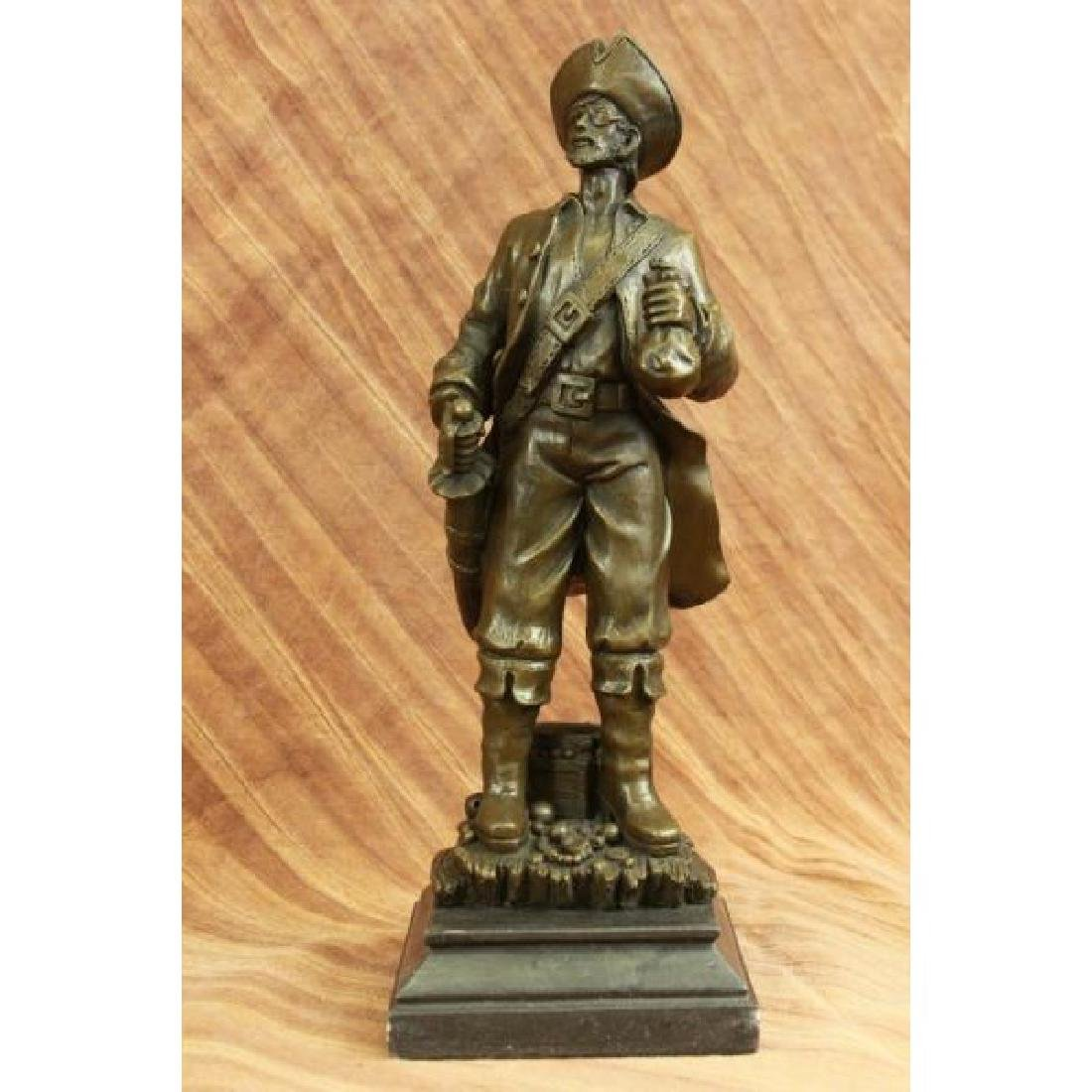 Pirate With Jewelry Chest and Sword Bronze Sculpture