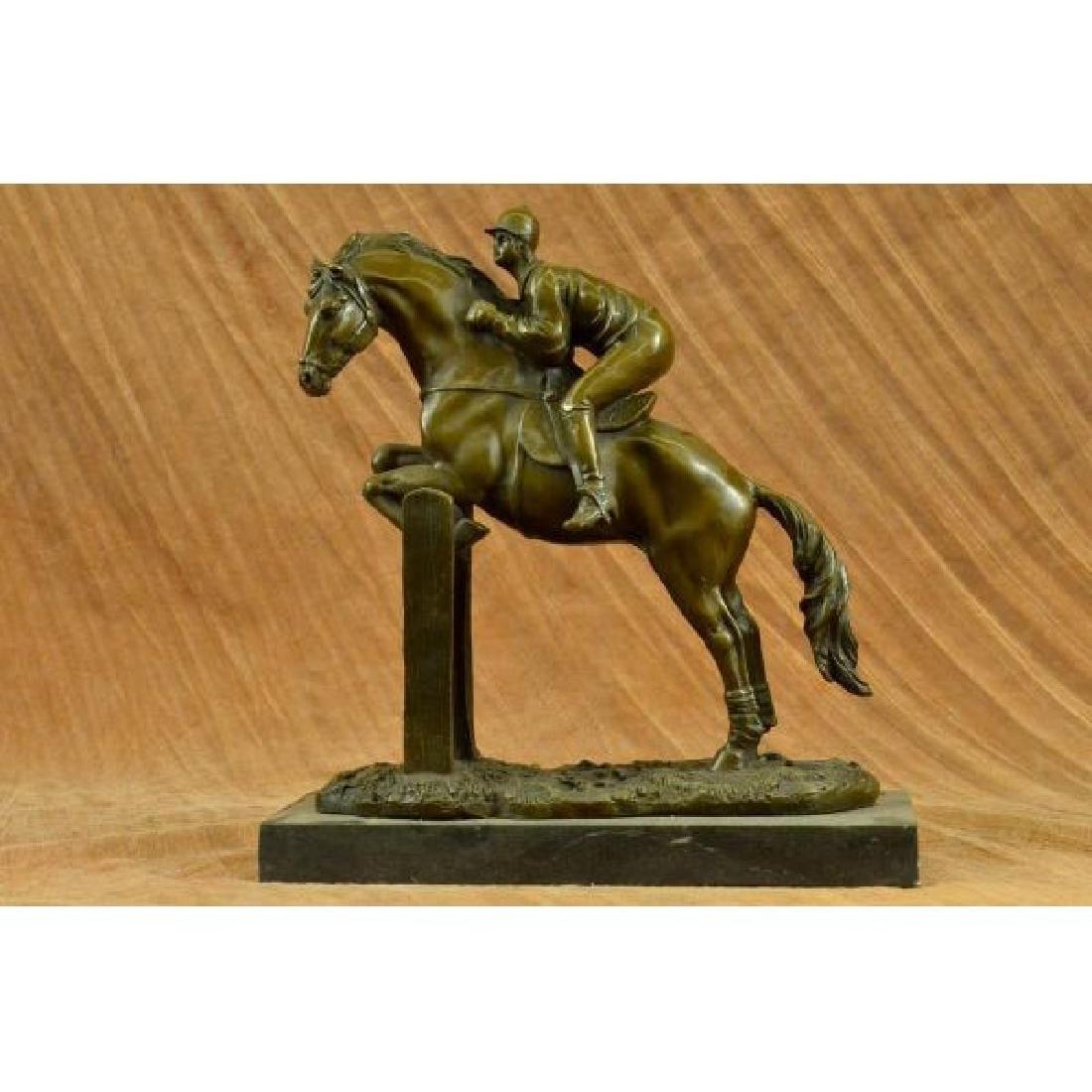 Hot Cast American artist Fisher Jockey Bronze Sculpture
