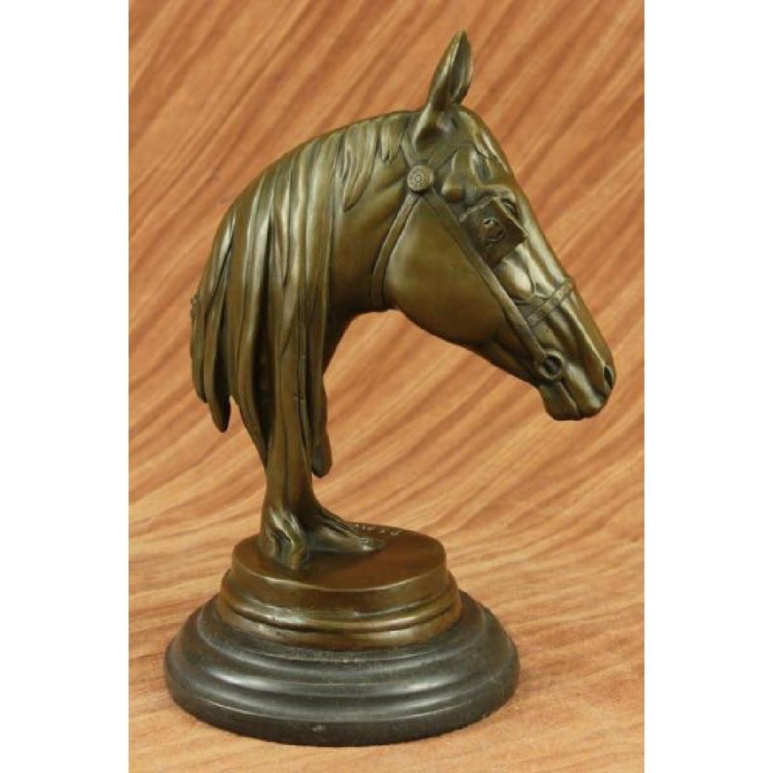 Hot Cast Bronze Horses Head Sculpture Marble Statue