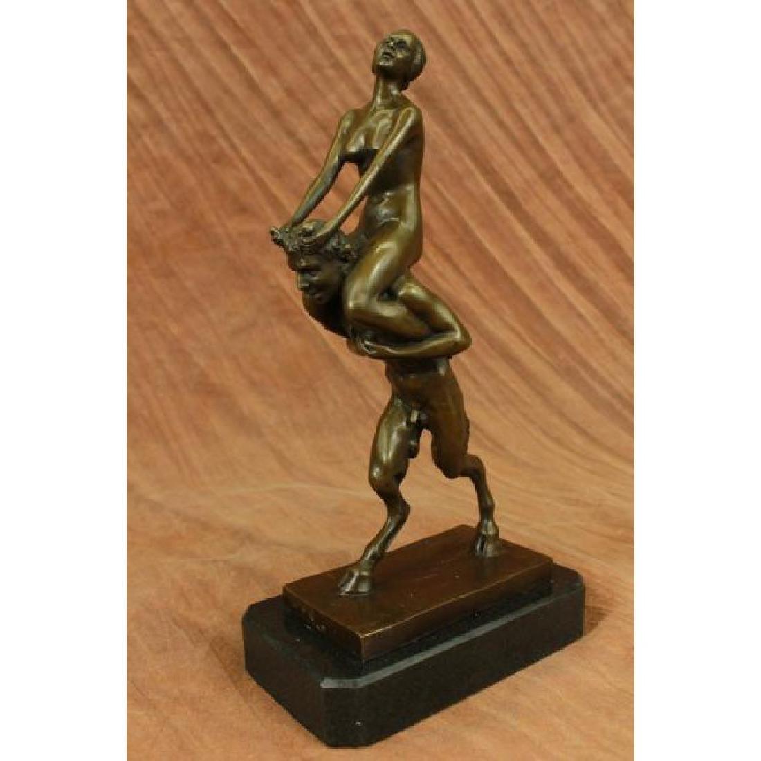 Vienna Bronze Erotic Nymph and Satyr Bronze Sculpture
