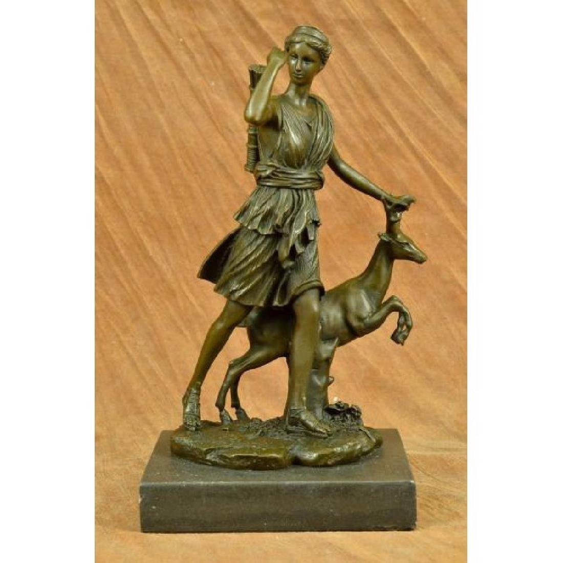 Art Deco Mythical Diana the Hunter with Stag Deer