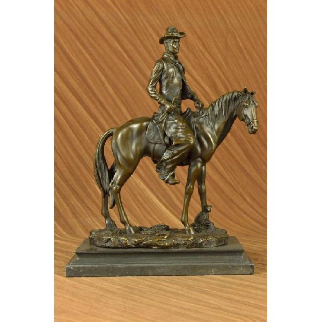 Wild West Western Cowboy With Hat Riding Horse Bronze