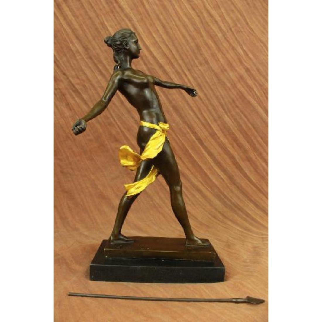 Art Deco Nude Female Gilt Diana Hunter Huntress Bronze